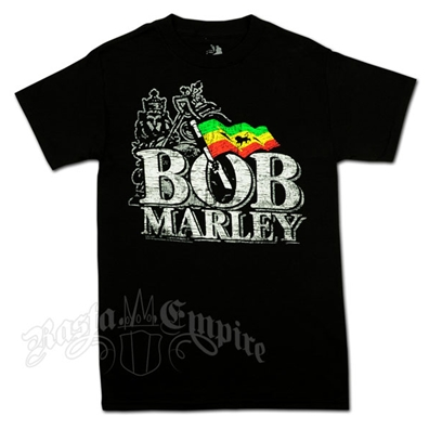 Bob Marley Distressed Logo with Lion of Judah Black T-Shirt - Men's