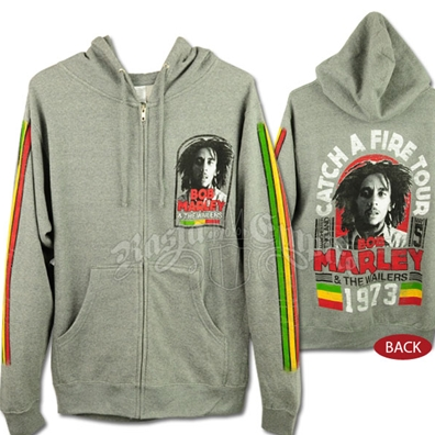 Bob Marley CAF Manchester Tour Gray Zip Hoodie - Men's