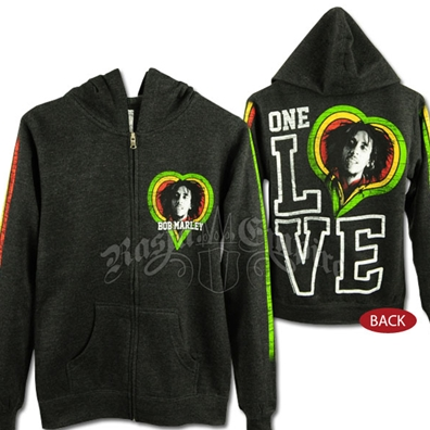 Bob Marley One Love Smile Charcoal Grey  Zip Hoodie - Women's