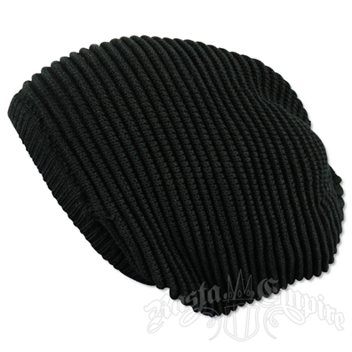 Solid Black Oversized Beanie Cap