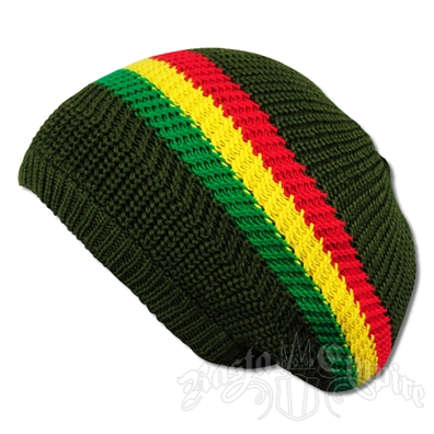 Rasta Stripes and Olive Tam Headwear