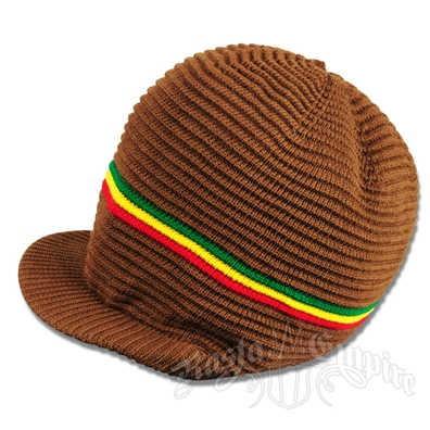 Rasta Ribbed Cotton Cap - Brown/Rasta