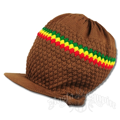 Rasta Band Brim Headwear - Brown
