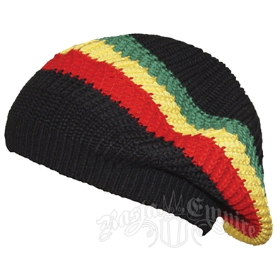 fb8c5ac8c0a Oversized Beanie Cap - Brown Rasta Stripe. Rasta Band Tam Headwear