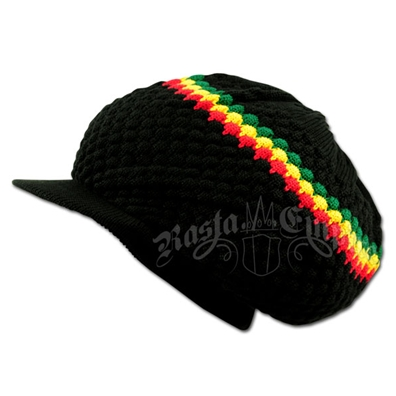 Rasta Band Brim Headwear - Black