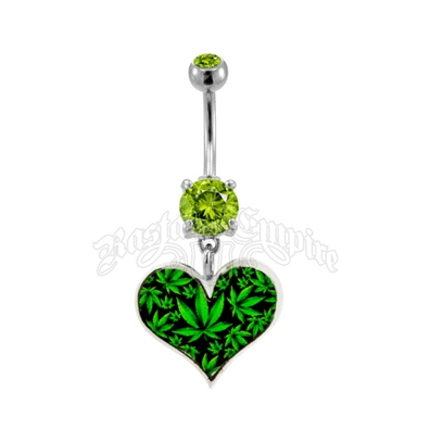 Marijuana Leaf Heart Belly Ring