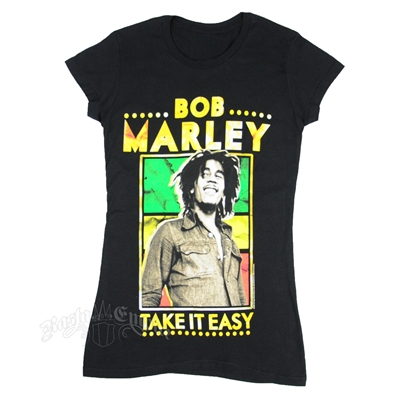 Bob Marley Take It Easy Black T-Shirt - Women's