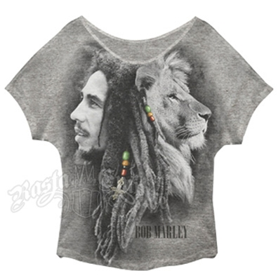 Bob Marley Profile Grey Dolman T-Shirt - Women's