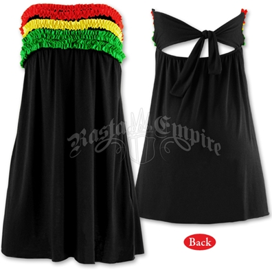 Rasta and Reggae Ruffle Tube Top Short Dress