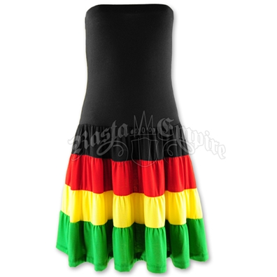 Rasta and Reggae Tiered Ruffle Tube Top Short Dress