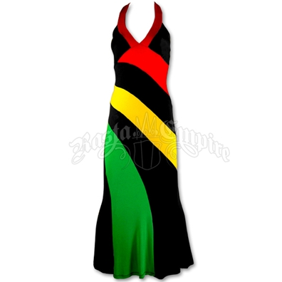 Rasta and Reggae Long Halter Dress