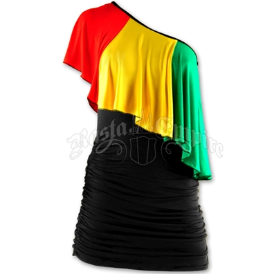Rasta and Reggae Ruffle One Shoulder Short Dress