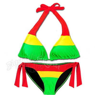 Rasta Color Block Halter and Side Tie Bottom Bikini Swimsuit
