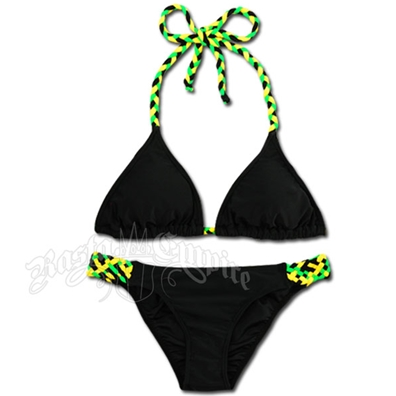 Jamaican Braid Triangle Top and Lowrise Bottom Bikini Swimsuit