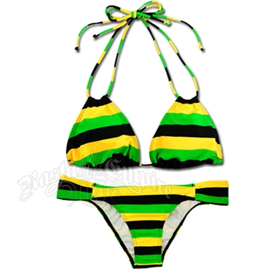 Jamaican Stripe Loop Triangle Top and Rio Bottom Bikini Swimsuit