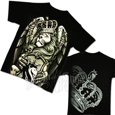 Lion and Crown Black T-Shirt - Men's