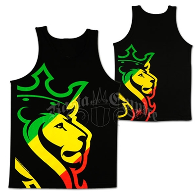 Rasta Striped Lion Black Tank Top - Men's