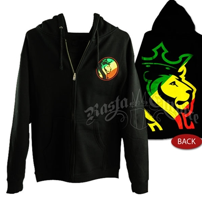 Rasta Striped Lion Logo Black Hoodie - Men's