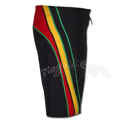 Rasta Diagonal Stripe Board Shorts - Men's