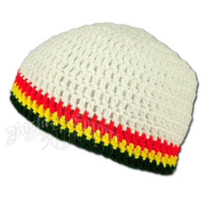 Rasta Crochet Beanie Hat - Bright White