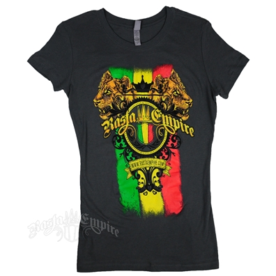 RastaEmpire Logo and Lioness Charcoal T-Shirt - Women's