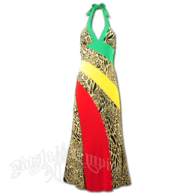 Rasta and Reggae Long Animal Print Halter Dress