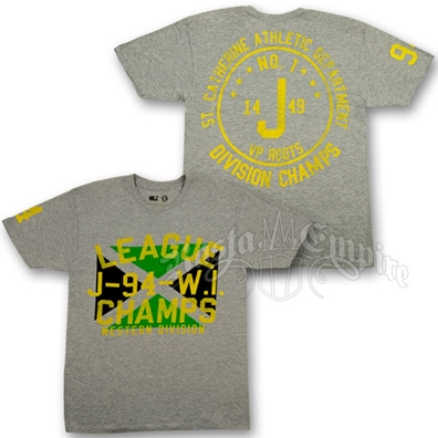 Jamaica League Champs Heather Grey T-Shirt - Men's