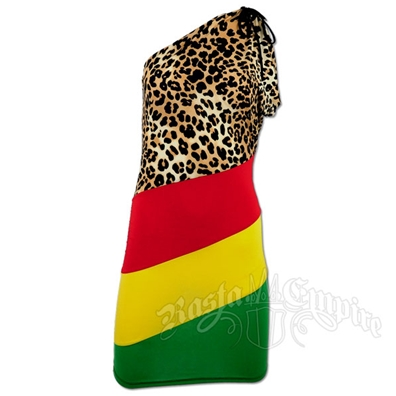 Rasta and Reggae Animal Print One Shoulder Short Dress