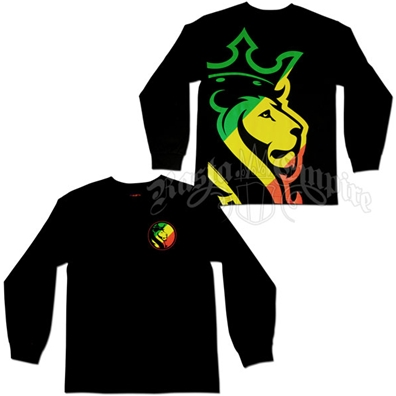 Rasta Striped Lion Black Long Sleeve T-Shirt - Men's