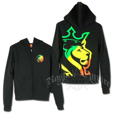 Rasta Striped Lion Logo Black Hoodie - Women's