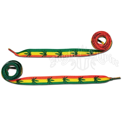 Rasta Stripe and Marijuana Leaf Shoelaces - Thick