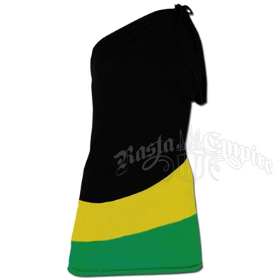 Jamaican One Shoulder Short Dress