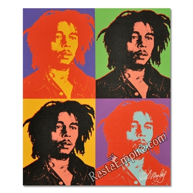 "Bob Marley Canvas Painting - Andy Warhol Style 27"" x 20"""