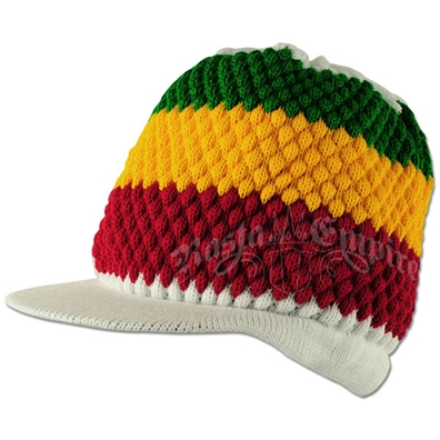 Rasta Stripe Deep Crown Visor Beanie Cap - White