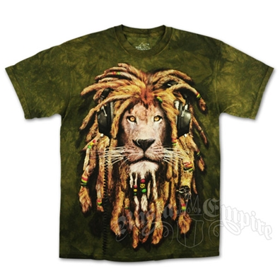Rasta DJ Lion Olive Green Tie Dye T-Shirt - Men's
