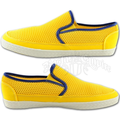 Rasta and Reggae Mesh Yellow Slip On Shoes - Men's