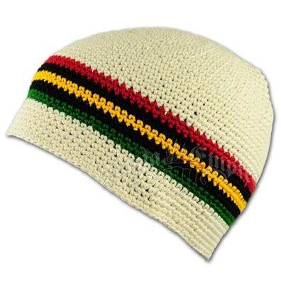 Rasta and Reggae Skull Cap - Natural