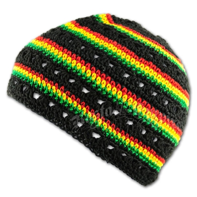 Rasta and Reggae Skull Cap - Black with Ratsa Stripes