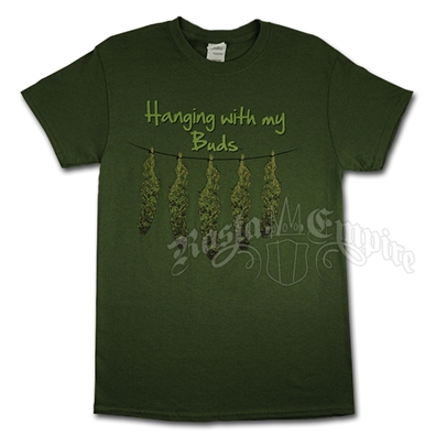 Hanging With My Buds Green T-Shirt - Men's
