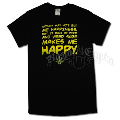 Money Weed Happiness Black T-Shirt - Men's