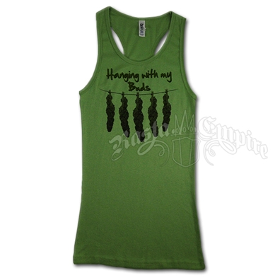 Hanging With My Buds Green Tank - Women's