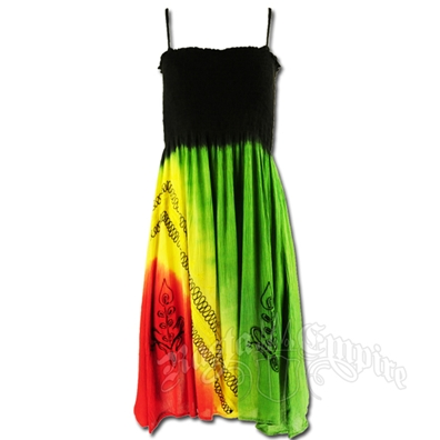 Rasta and Reggae Smocked Short Summer Dress - Women's