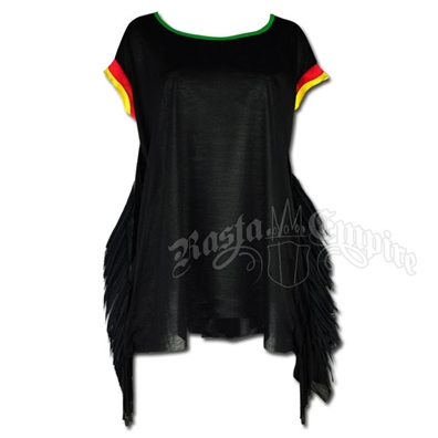 Rasta and Reggae Fringe Poncho Coverup