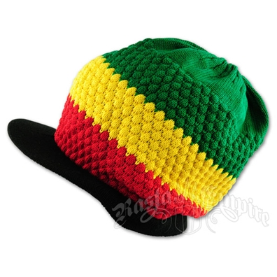 Rasta Cotton Ribbed Visor Cap - Black Brim