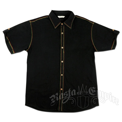 Rasta Stitch Button Down Black Shirt - Men's