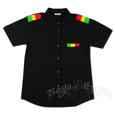 Rasta Tabs Button Down Black Shirt - Men's