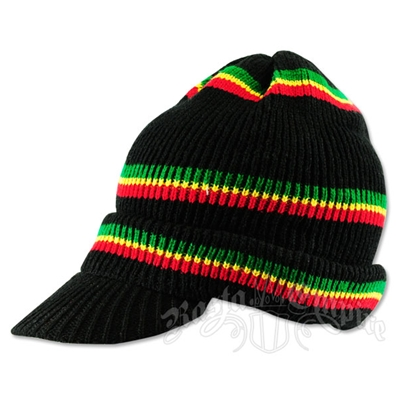 Rasta Thin Striped Brimmed Beanie