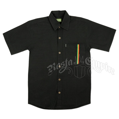 Rastafari Button Down Black Shirt - Men's
