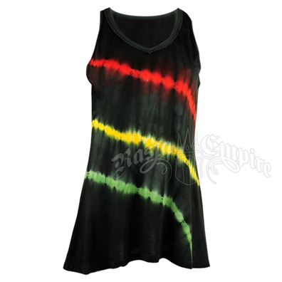 Rasta and Reggae Striped Tie-Dye Tank Top - Women's