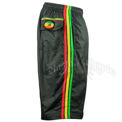 Rasta Lion of Judah Black Boardshorts - Men's